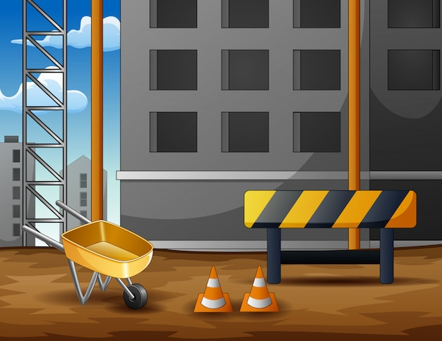 Construction site background with equipment
