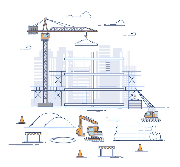 건설 현장, 집을 짓고. 얇은 라인 플랫 디자인 현대적인 개념. 가는 선