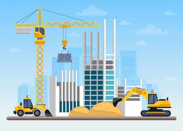 Строительная площадка строительство дома с кранами и машинами