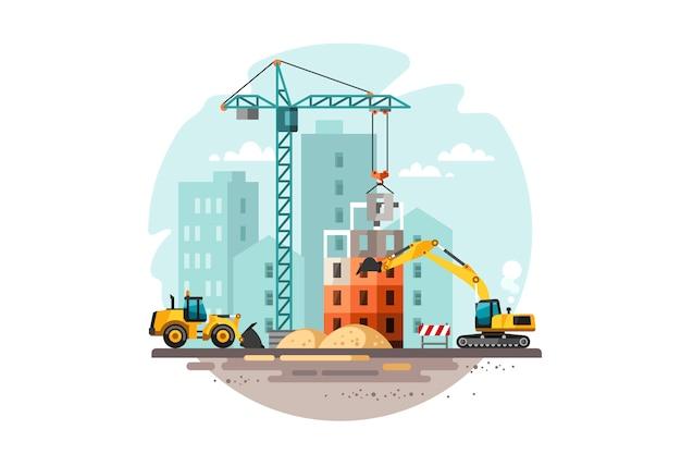 家を建てる建設現場。