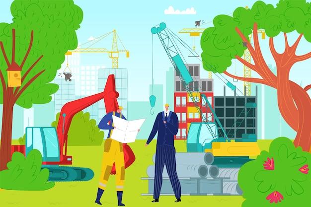 건설 현장 건물, 전문 엔지니어 캐릭터 대화 사업가 평면 벡터 일러스트레이션, 주거 단지. 개념 중장비 기계, 굴착기 및 크레인.