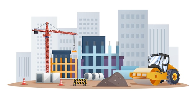 Construction site concept with compactor and material equipment illustration