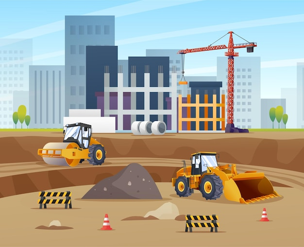 Construction site concept with compactor wheel loader and material equipment illustration
