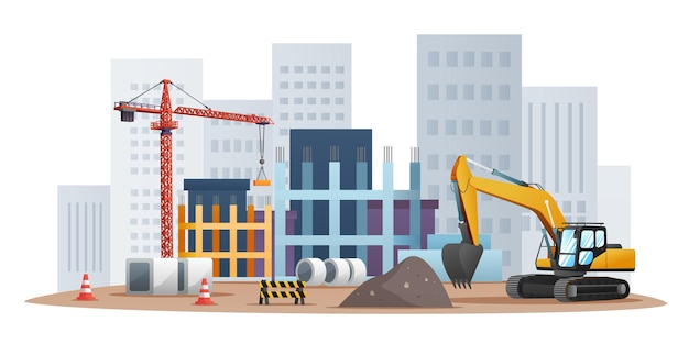 Construction site concept with excavator and material equipment illustration