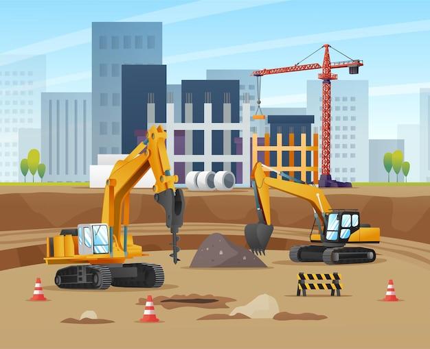 掘削機と材料設備の漫画イラストと建設現場のコンセプト