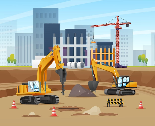 Construction site concept with excavators and material equipment cartoon illustration