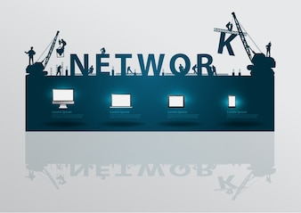 Construction site crane building network text