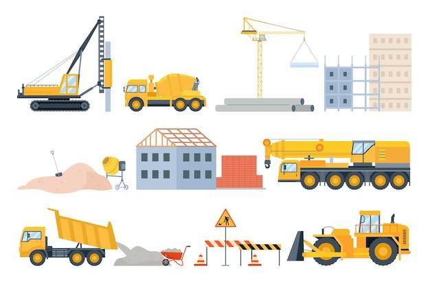 建設現場の要素。材料の山、砂とパイプ、レンガ造りの建物と機械。セメントミキサー車、ブルドーザー、クレーンのベクトルセット。イラスト工事現場、石の山とパイプ