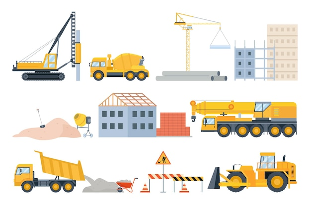 Construction site elements. material piles, sand and pipes, brick building and machinery. cement mixer truck, bulldozer and crane vector set. illustration construction site, stone heap and pipe