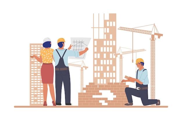 Строительная площадка промышленных рабочих архитекторов строителей иллюстрации