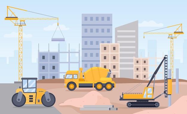 建設現場。クレーン、ブルドーザー、掘削機、コンクリートミキサー機を使用した建築プロセスの風景。シティビルドフラットベクトルの概念。建設業、開発棟イラスト