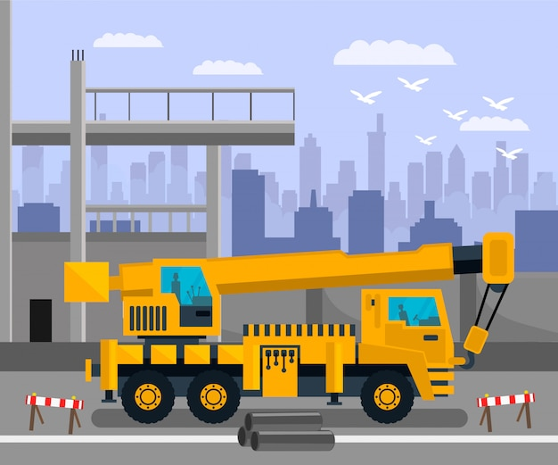 Construction site, load lifting crane illustration