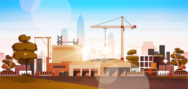 Construction site at sunrise