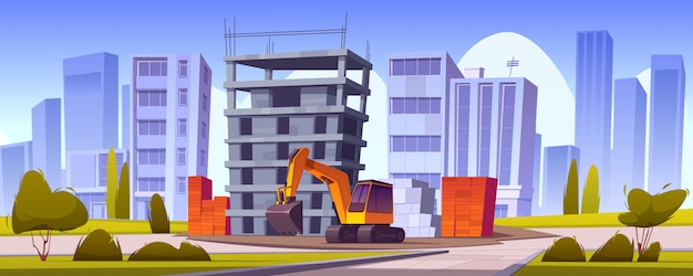 Строительная площадка, недостроенный дом и экскаватор