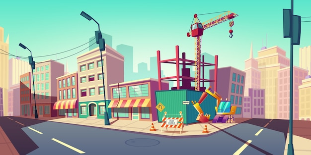 Construction site with building crane on street illustration