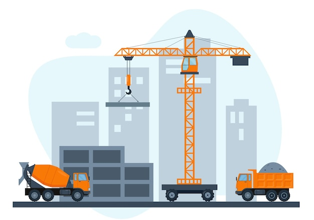 Construction site with crane and heavy construction equipment. building house in city.