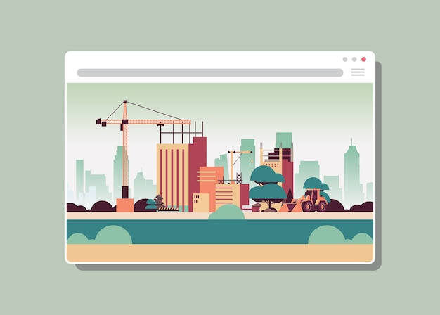Webブラウザーウィンドウデジタル建物のクレーンで建設現場