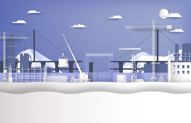 Under construction site with heavy machine work process, paper cut style
