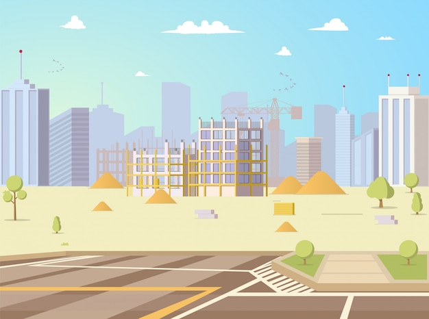 Construction site with unfinished building vector