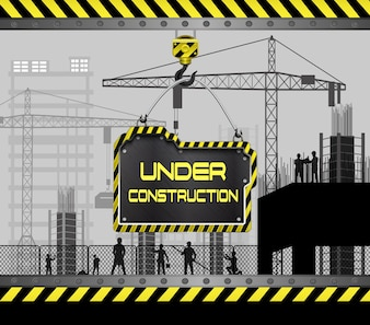 Construction sites with buildings and cranes