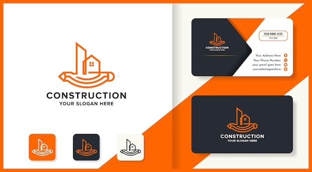 Construction sketch logo with pen longitudinally and business card design