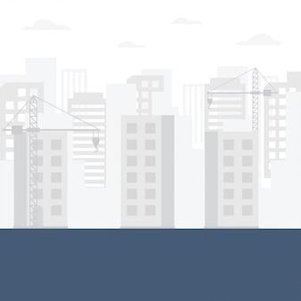 Construction skyline background