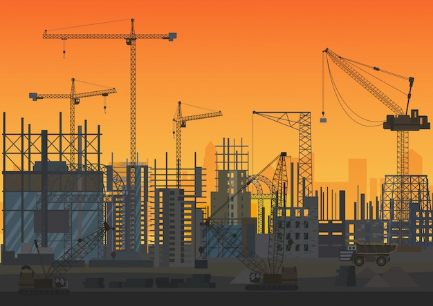 Construction skyline under construction sunset silhouette illustration.