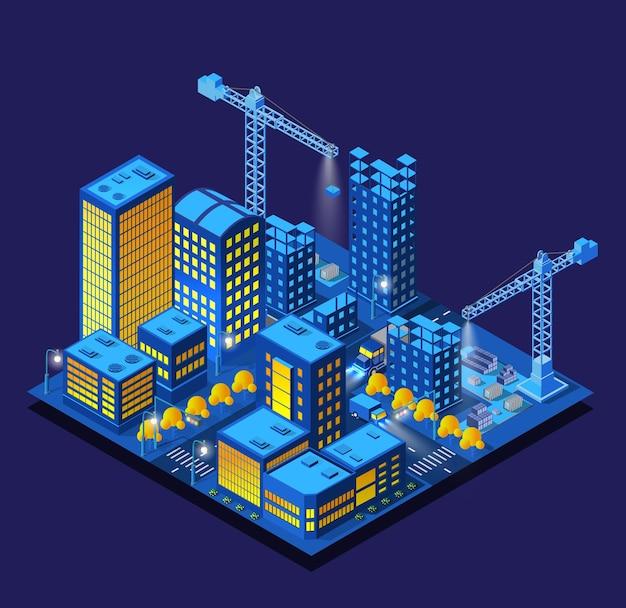 Строительство умного города ночью. футуристический ультрафиолетовый модуль городской инфраструктуры, изометрические здания