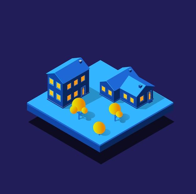 밤에 건설 스마트 시티. 도시 인프라, 아이소 메트릭 건물의 미래형 자외선 모듈