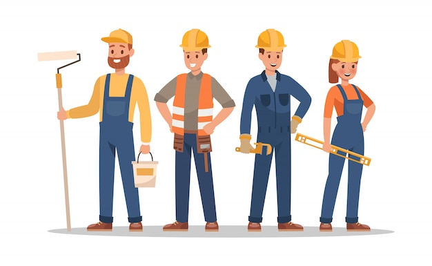 Construction staff characters. include foreman, painter, electrician, landscaper, carpenter.