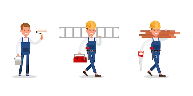 Construction staff characters . include painter and carpenter.