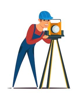 Construction surveyor illustration, builder, cadastral engineer cartoon character.
