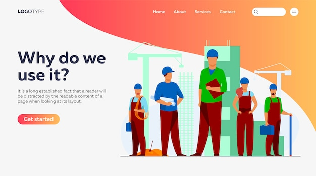 Строительная бригада работает над шаблоном целевой страницы сайта