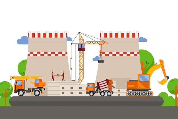 Строительная техника, строительство производства иллюстрации. погрузочный кран между проектами бетонной колонны. грузовик с ковшом