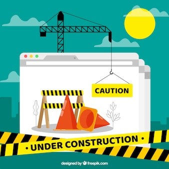 Under construction template in flat style