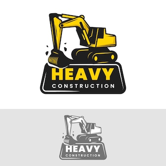 Construction template for logo with excavator