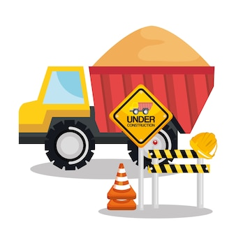 Under construction tipper truck sand barricade sign road Premium Vector