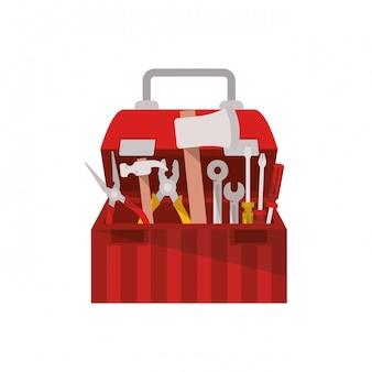 Construction tool box isolated