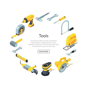 Construction tools banner isometric icons in circle