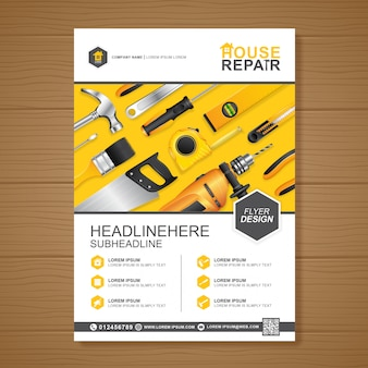 Construction tools cover a4 design template