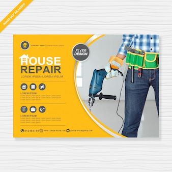 Construction tools cover a4 flyer design template