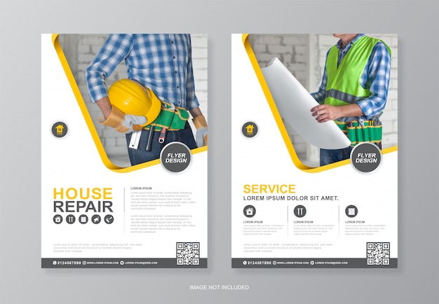 Construction tools cover and back page a4 flyer designer template