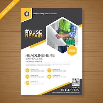 Construction tools cover flyer design template