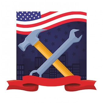 Construction tools crossed cartoon symbol