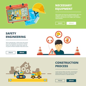 Construction tools. equipment for workers house repair engineering technology items factory concept banners  collection