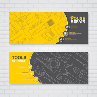 Construction tools and flat icons banner design template