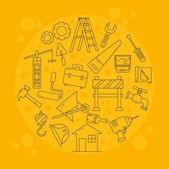 Набор иконок строительных инструментов в круглой форме