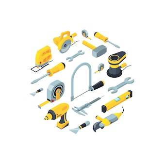 Construction tools isometric icons in circle shape