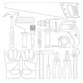 Construction tools linear set all of tools supplies