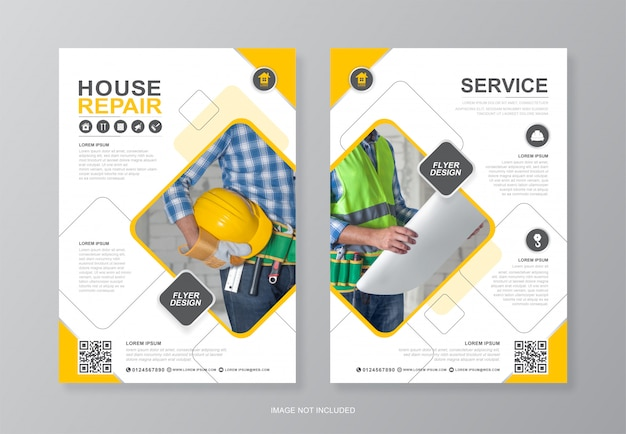 Construction tools   page a4 flyer design template